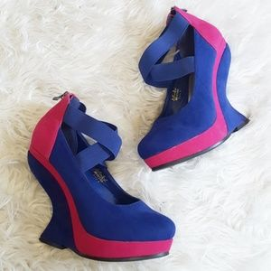 Platform quirky colorblock heels size 8